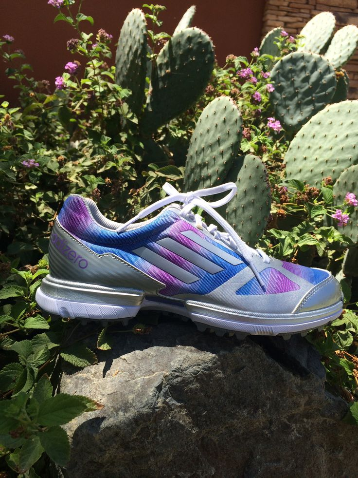 Adidas Women's @adidasadizero Sport Golf Shoes Grey/Blue/Purple availabe at www.desertwillow.com #golfisgreat #golf #adizero #golfshoes #adidas