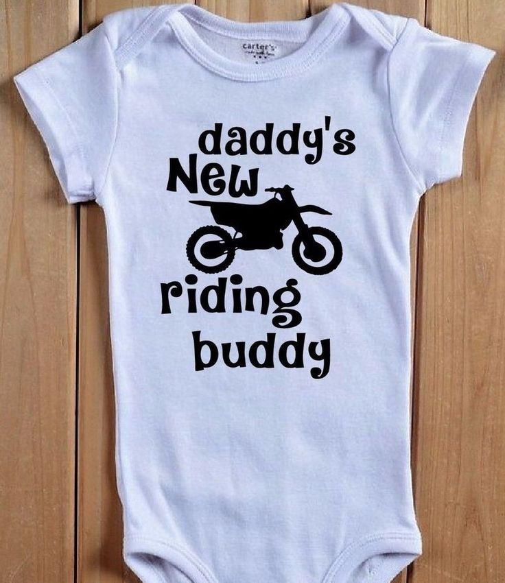 DADDY'S NEW RIDING BUDDY Baby Onesie Shirt MX Dirt Bike Motorcycle Motocross #BabeNotIncluded #Everyday