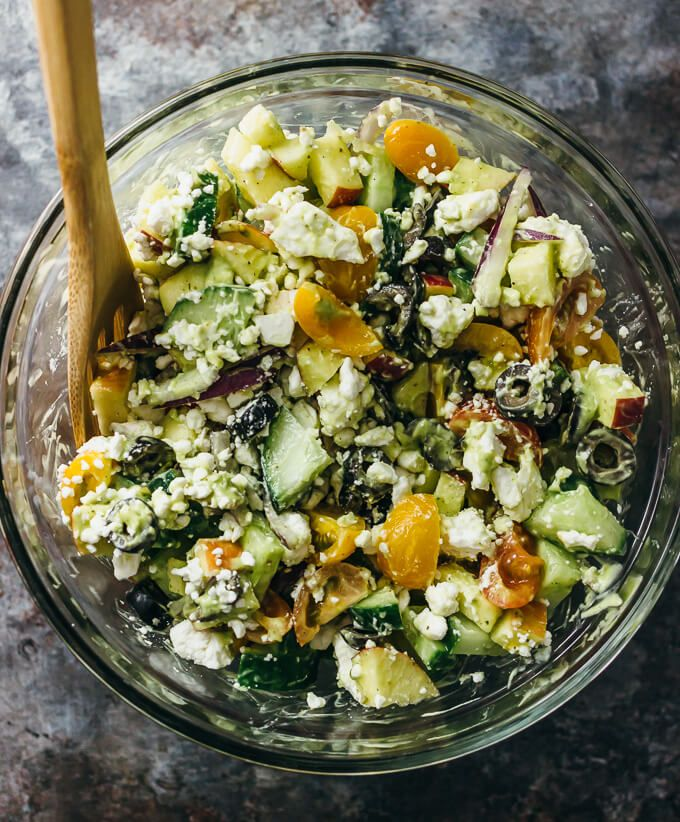 Best greek salad with creamy avocado dressing