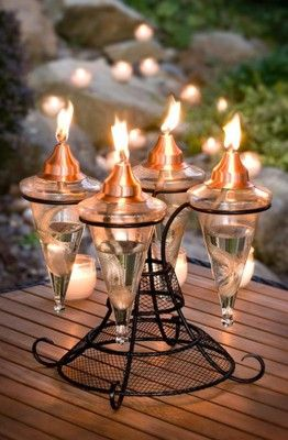 The Table Top Glass Torch from H Potter. Provides a nice warm glow for those special occasions. A H Potter best seller the table top glass torch comes with a black powder coat finish and copper tops to hold the long lasting wick.