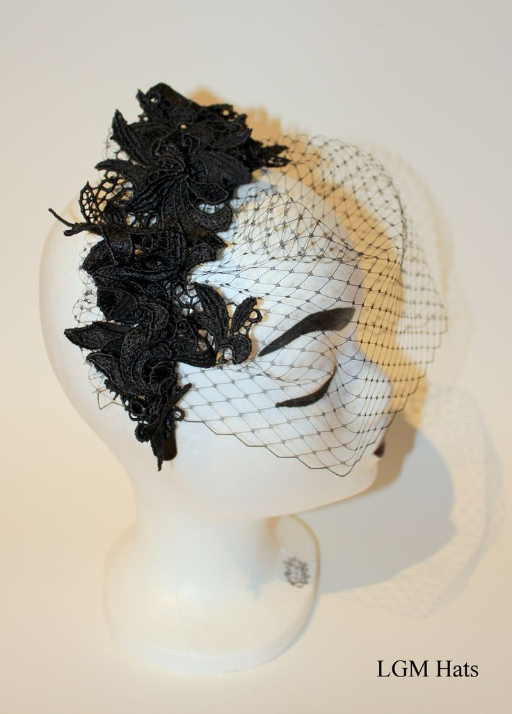 Black lace face net by LGM Hats. www.lgmhats.com