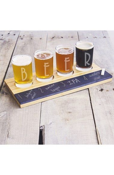 Free shipping and returns on Cathy's Concepts Craft Beer Tasting Flight at Nordstrom.com. A set of etched tasting glasses coordinates with a bamboo-wood flight board that features a chalkboard-like slate front panel for easy identification of individual brews.