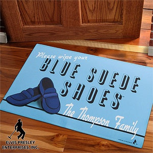 This Elvis-themed Blue Suede Shoes doormat is so cool! PersonalizationMall has a whole line of Elvis-themed gifts that you can personalize ... great Christmas gift idea for him! #Elvis