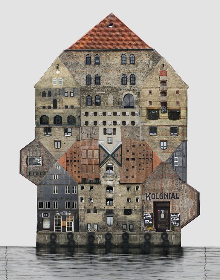 anastasia savinova's architecture collages illustrate the vernacular dwellings of different cities