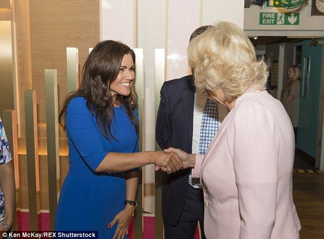 Saying hello: The Duchess is introduced to Good Morning Britain presenter Susanna Reid