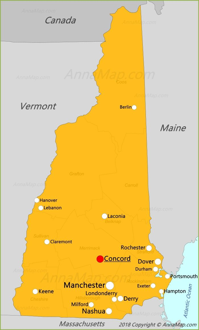 New Hampshire Map | New England in 2019 | United states map, State ...