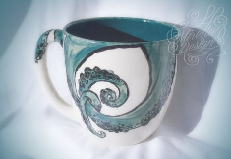 octopus mug hand painted mug diy tentakel octopus oktopus krake tasse bemalen paint. Black Bedroom Furniture Sets. Home Design Ideas