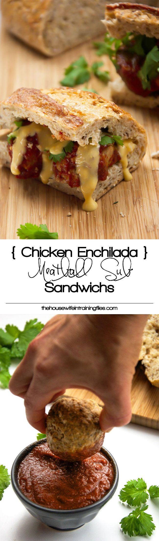 Enchilada Chicken Meatball Sub Sandwiches madeover with lean, ground chicken, enchilada sauce, multigrain rolls and dipped into a skinny queso dip! And they are cooked in the slow cooker to make dinner a breeze!
