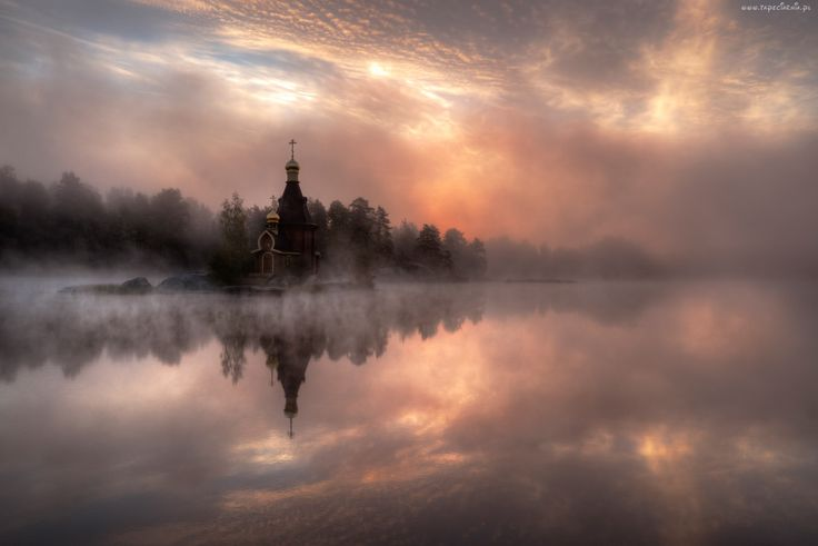 Jezioro, Mgła, Chmury, Cerkiew, Las
