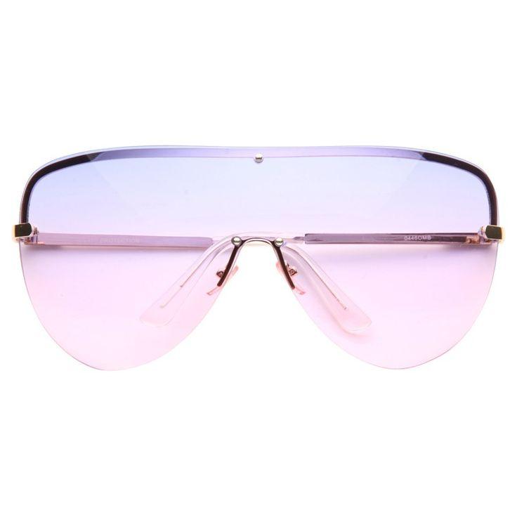 Cheap Designer Inspired Sunglasses   Reeves Oversized Rimless Split Tint Shield Aviator Sunglasses   BleuDame.com