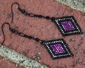 Brick Stitch Earrings, Beaded Diamond Shaped Black, Metallic Fuchsia, and Brass Dangle Earrings, Beadwork Earrings