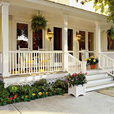 White front porch: Rocks Chairs, Southern Living, Big Front Porches, Hanging Ferns, White Porches, Southern Porches, Classic White, Porches Ideas, Dreams Porches