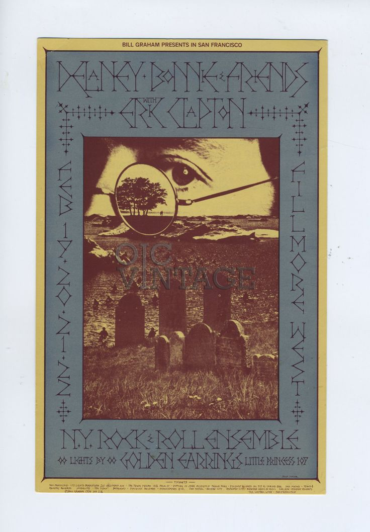 Bill Graham 218 Postcard Ad Back Delaney Bonnie and Friends with Eric Clapton 1970 Feb 19 Condition Very Fine