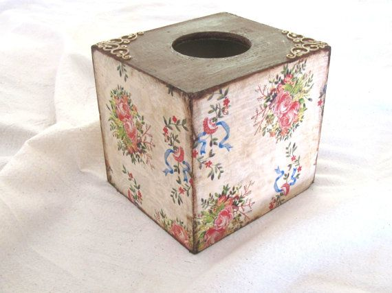 Bright floral kleenex box cover vintage style by ArtandWoodShop