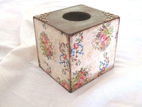 Bright floral  kleenex box cover   vintage style by ArtandWoodShop