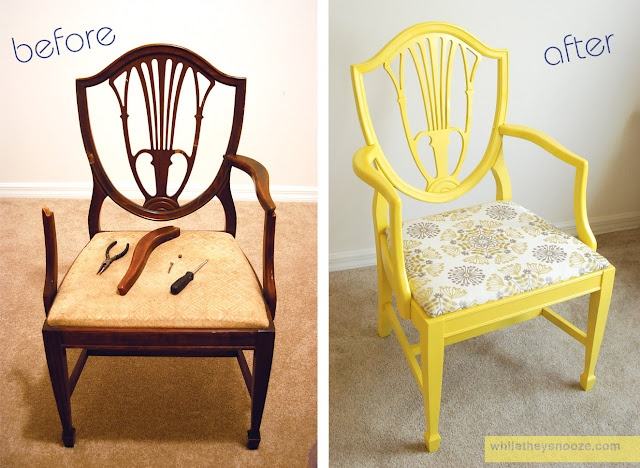 diy chair makeover  http://www.whiletheysnooze.blogspot.com/2012/07/side-chair-makeover.html