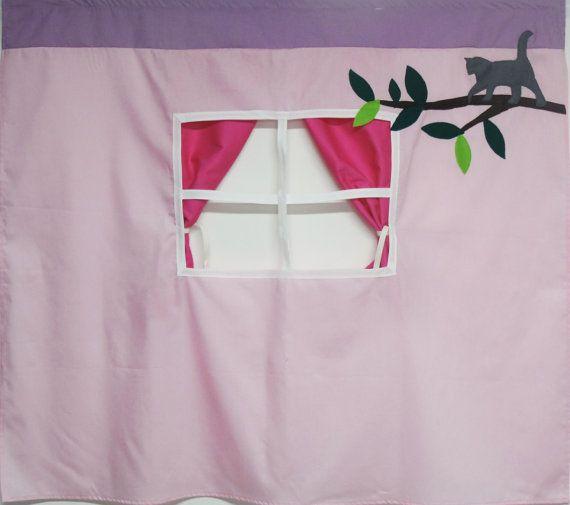 Playhouse fabriqué à partir de tissus de coton pour s'adapter à votre lit superposés-style. Rideau de lit, les enfants lit tente, playhouse lit tissu, lit superposé playhouse, playhouse les enfants. Le playhouse spécifique montrant convient à un lit superposé IKEA Kura. La liste