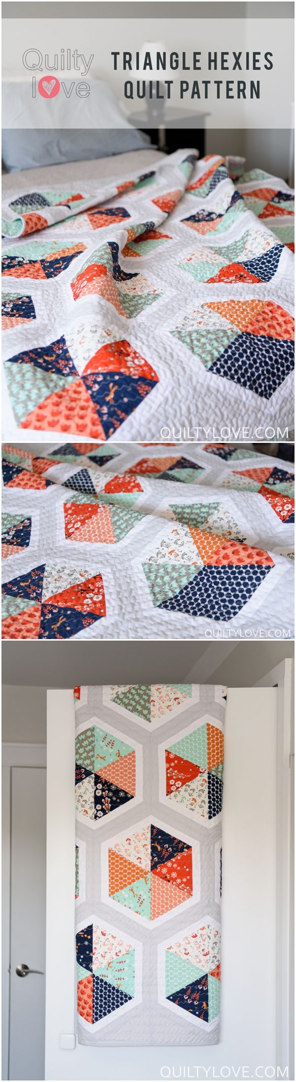 Click on through to see more photos of Quilty Love's newest quilt pattern Triangle Hexie Quilt. This modern quilt is made using Cloud 9 Fabrics newest line FoxGlove. www.quiltylove.com                                                                                                                                                      More