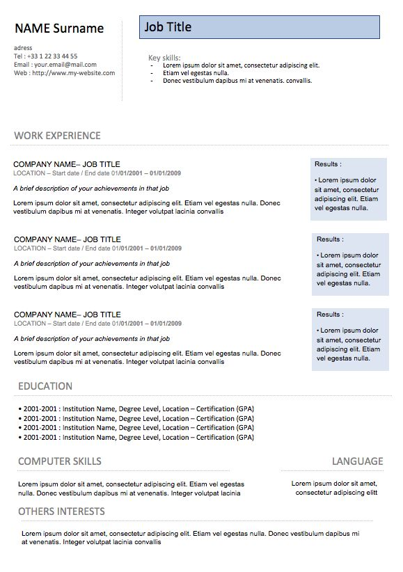 Chronological resume / Modern Resume 8 | Examples Of Resumes