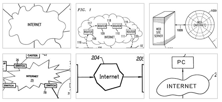 According to patent drawings, it's a cloud, or a bean, or a web, or an explosion, or a highway, or maybe a weird lump.