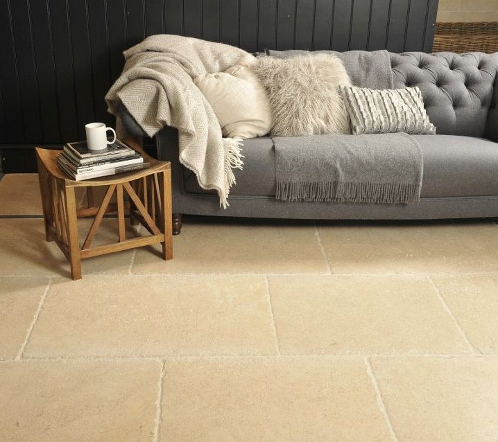 Castile Heavy Tumble Limestone Flagstone Flooring In Rich Beige A Lovely Warm And Rustic Cotswold Style Floor From Sq Metre