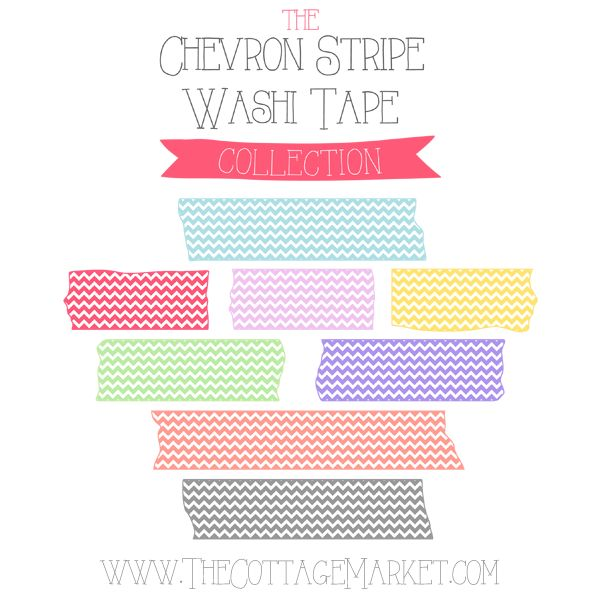 FREE Chevron Stripe Washi Tape Digital Collection - The Cottage Market