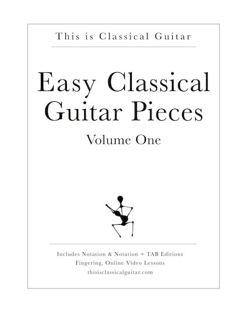 More info: http://www.thisisclassicalguitar.com/easy-classical-guitar-pieces-volume-1/  Easy Classical Guitar Pieces - Volume One. A PDF Download with Notation & Notation + TAB Edition. 15 Pieces Ranging from Renaissance to Romantic for beginner to early intermediate guitarists. Fingering, Online Video Lessons for Each Piece