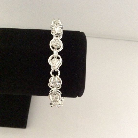 Captured Beads Chainmaille bracelet in silver by DragonTearDesigns