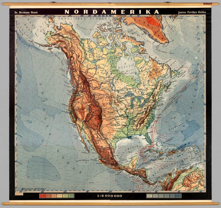 Physical Map of North America 1950 678