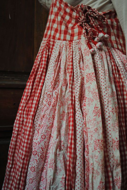 red and white patch skirt!