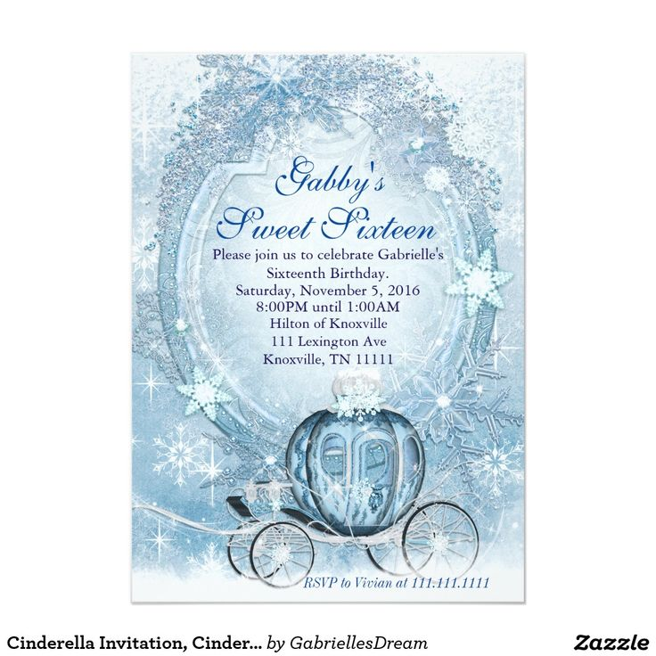 Cinderella Invitation, Cinderella Sweet Sixteen