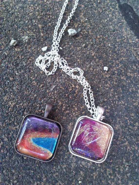 Hand painted glass pendants Various colours by HippieSoulJewelry, $15.00