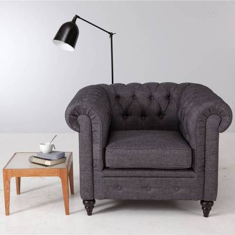 fauteuil club style chesterfield rosie en tissu gris 3. Black Bedroom Furniture Sets. Home Design Ideas