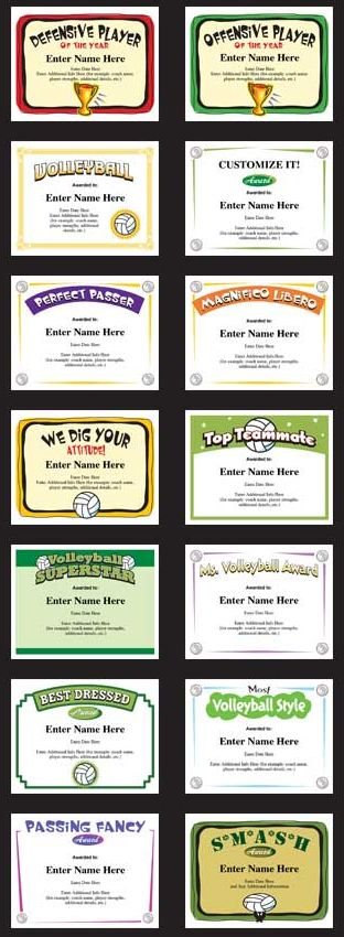 Volleyball certificate templates: Create personalized award certificates for each player on your team. Easy to use, stylish designs and great for sports banquets.  Volleyball awards. Volleyball Certificates.