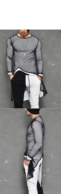 Tops :: Knits :: Avant-garde Edge Mesh Unbalance Long-Tee 317 – Mens Fashion Clothing For An Attractive Guy Look