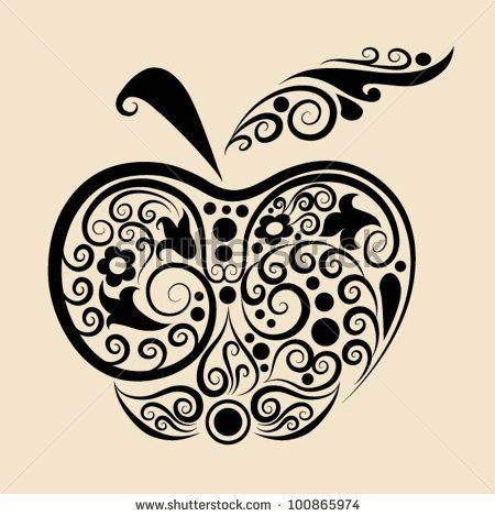 Decorative Apple. Apple And Flora Ornaments, Leaf, Flower, Nature Decoration For Tattoo Design Stock Vector 100865974 : Shutterstock