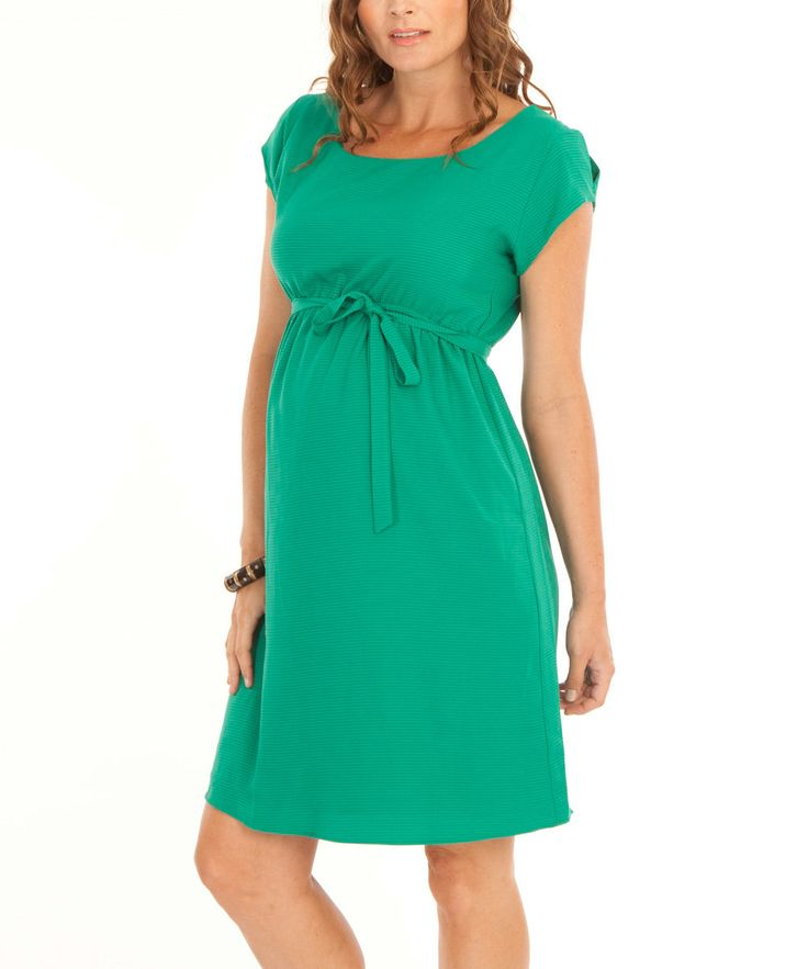 Angel Maternity Angel Jade Green Maternity Tie-Waist Dress | zulily