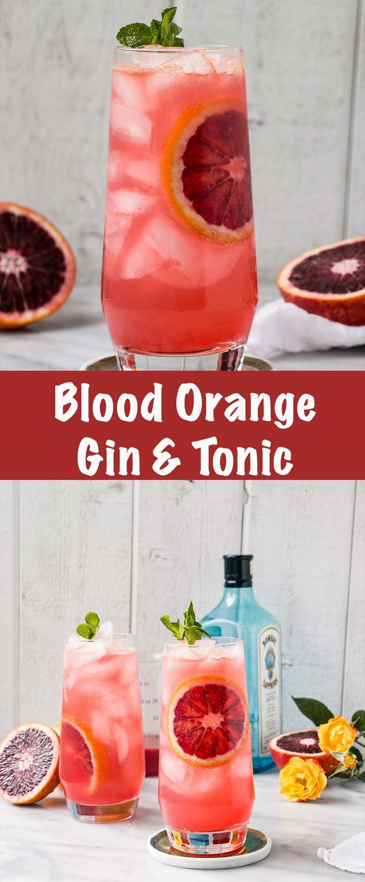 A refreshing and seasonal spin on a classic G&T! #bloodorange #cocktail #ginandtonic