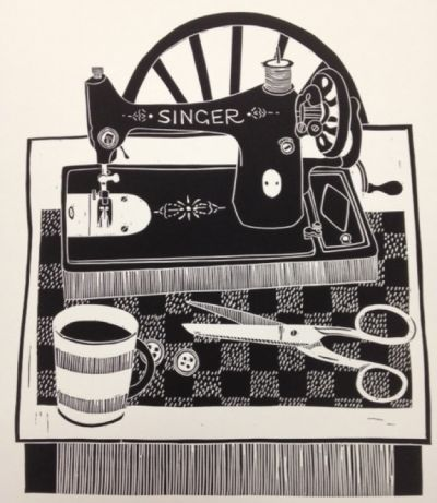 Linocut by Jan Brewerton - 'A Stitch in Time'