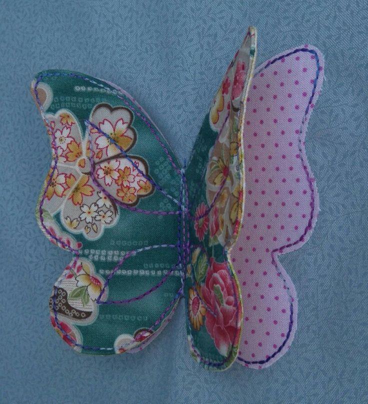 Perhonen applikoimalla ja pussiin ompelemalla, tarvitaan kangasta liimaharsoa ja ohutta vanua. Huhtikuu 2017
