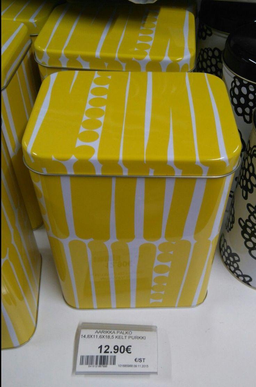 Aarikka Palko -peltipurkki, kelta-valkoinen; 12,90€, Kärkkäinen