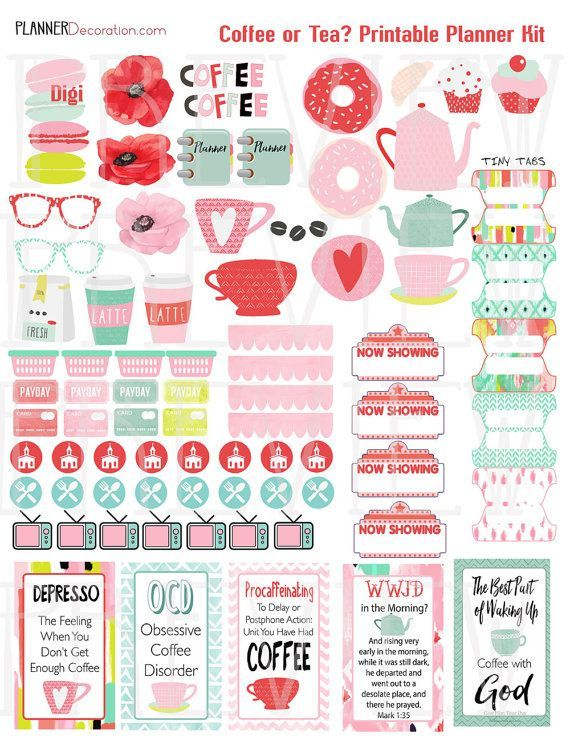 SALE 50% Off Coffee or Tea Printable Planner by DigiScrapDelights