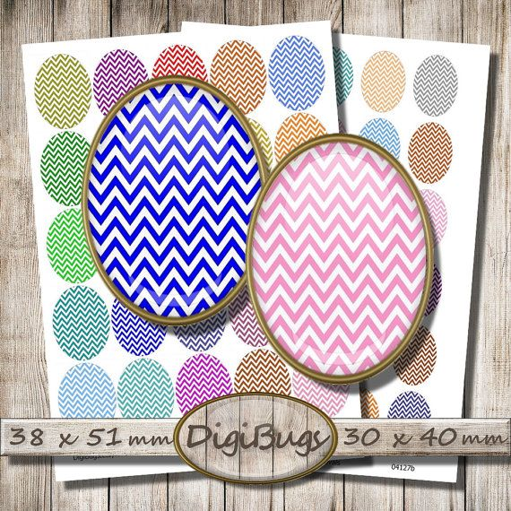 Printable Chevron Eggs, 38 x 51 mm, 30 x 40 mm, Oval Jewelry Images, Chevron Digital Collage Sheet, Instant Download, Spring Colors, d5