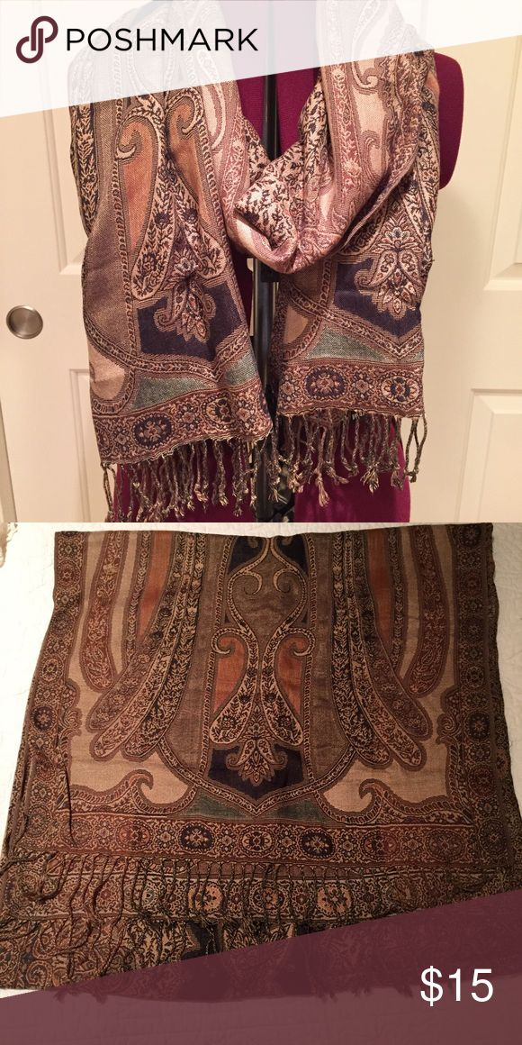 Pashmina shawl/scarf Beautiful neutral toned pashmina scarf. Like new. Non smoking home. Accessories Scarves & Wraps