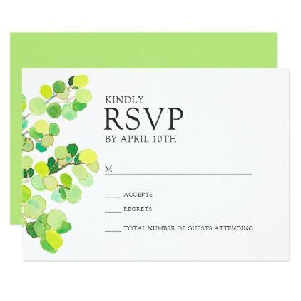Trendy bright spring greenery wedding rsvp reply card - wedding invitations diy cyo special idea personalize card