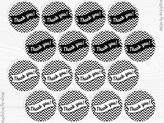 thank you party circle 2 in size round tag text by ArigigiPixel, $3.50