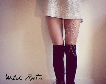 Items similar to Silver & Rhinestone Leg Jewelry on Etsy