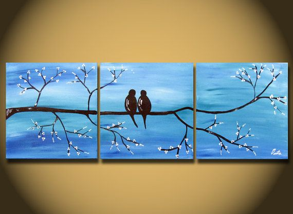 Landscape painting, Love Birds, HUGE 36 x 12, Acrylic on canvas, ready to hang, ORIGINAL One of a Kind Blue White silver WEDDING gift