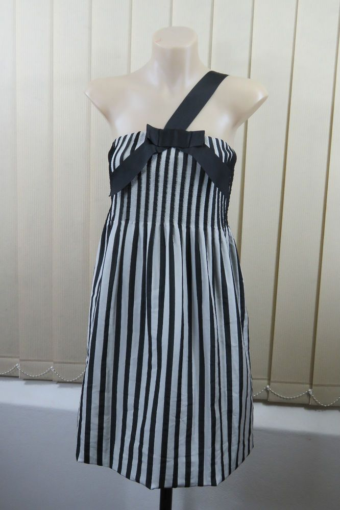 Size S 10 Ladies Black Stripe DressOne Shoulder Shift Cocktail Wedding Design  | eBay