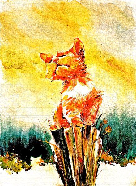 Vandaag de stomp morgen de wereld aquarel kat Print door ratafia
